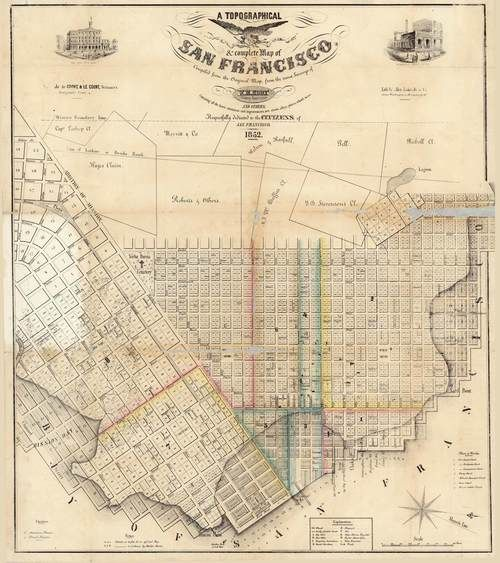 San Francisco 1852 Eddy - Old Map Reprint