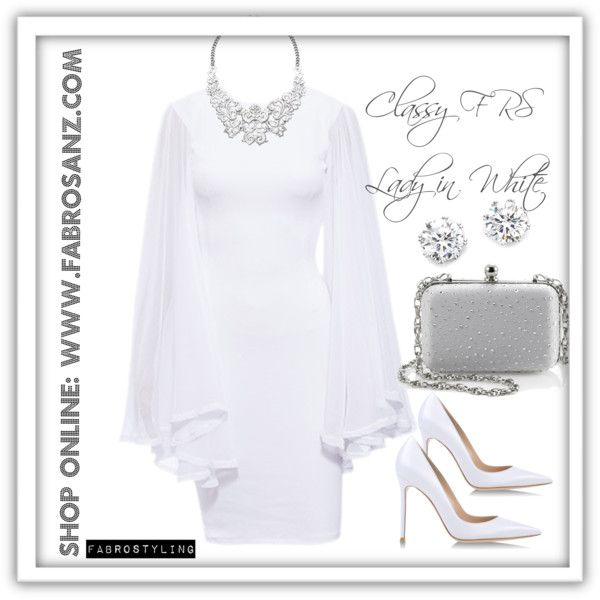 Classy FRS Lady In White by FabroStyling on Polyvore featuring White FabroSanz Dress, Gianvito Rossi, White House Black Market, Kenneth Jay Lane and Arizona