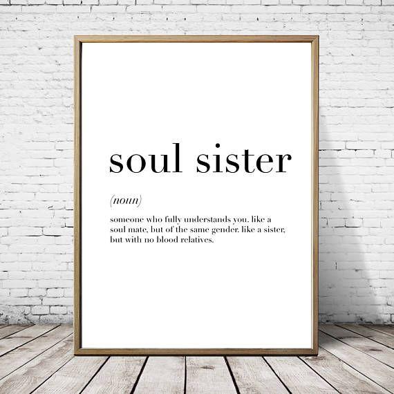 Soul Sister Definition Print // Minimalist Poster // Wall Art
