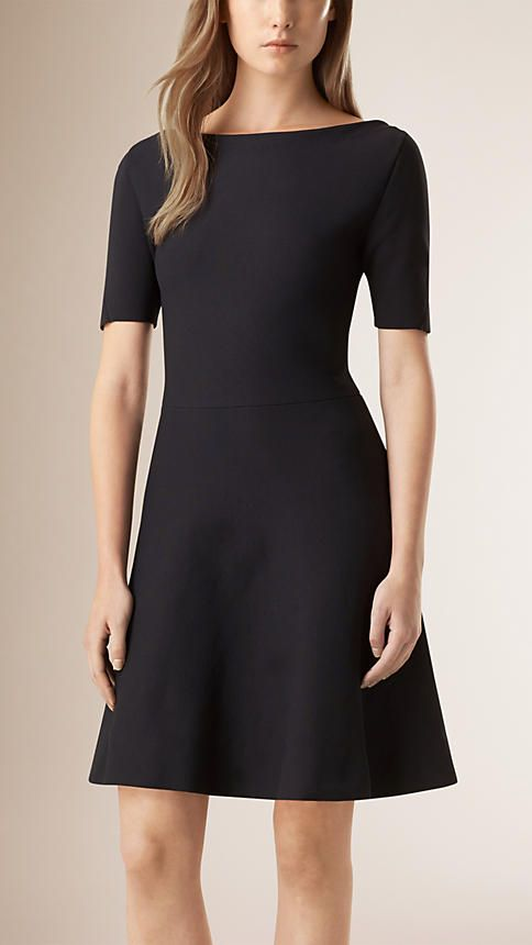 Navy Boat-neck A-line Dress - Image 1