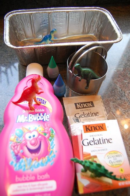 dinosaur soap using bubble bath and knox gelatin. **Multicultural note: There are some cultures who cannot touch gelatin, as it contains pork fat. Keep this in mind when planning activities for a classroom**