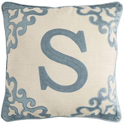 Block Monogram Pillow - Smoke Blue S