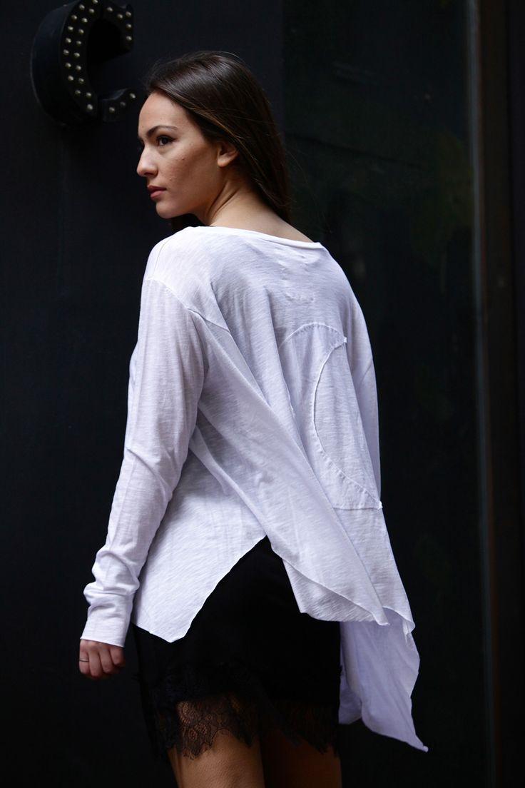Ithaca long sleeve tee & elizabeth lace top. #sewnMoon #lessismore #Black&White