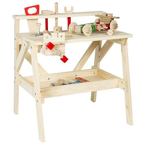 nice Best Choice Products Kid Wood Work bench Wooden Workshop Tool Storage Construction Pretend Toy SetSet includes various wooden tools such as a saw, hammer, wrench screwdriver, and clamp Made out of real wood increasing its durability and safety Provides tool rack to hang tools and a lower tray to hold additional hardware