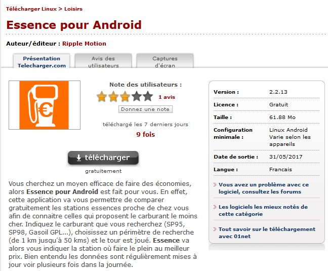 Essence pour Android: best petrol station app for France - shows prices   via 01net, Telecharger