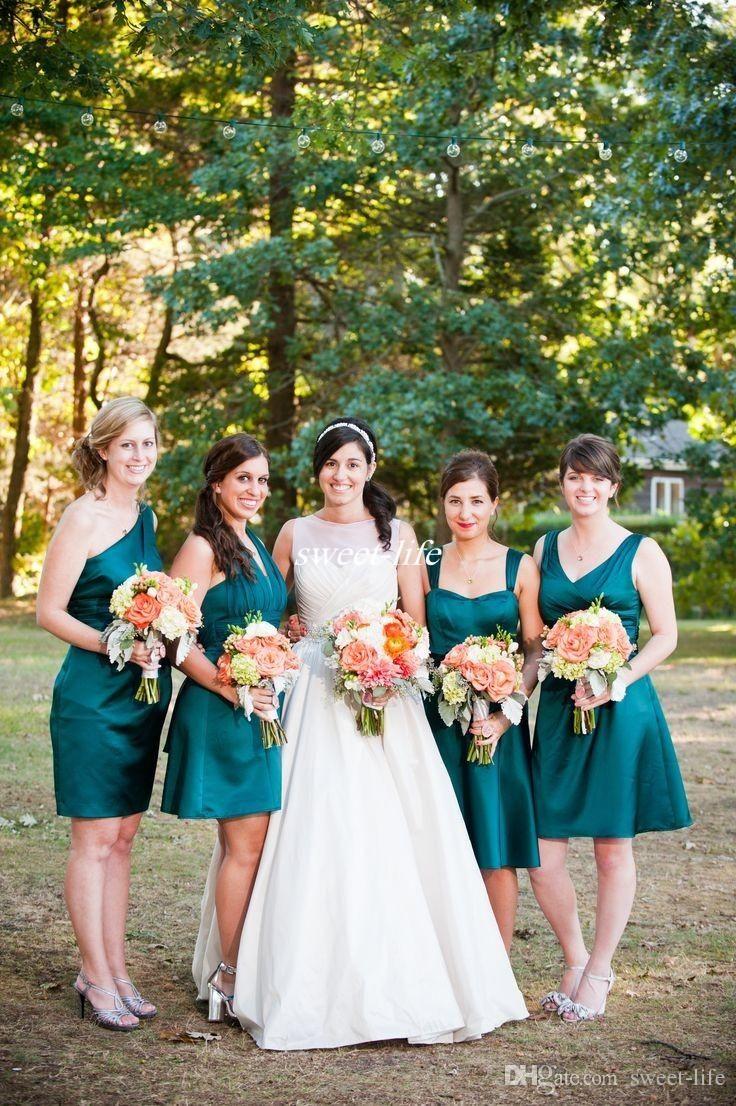 Dark teal short bridesmaid dresses knee length v neck for Made of honor wedding dress