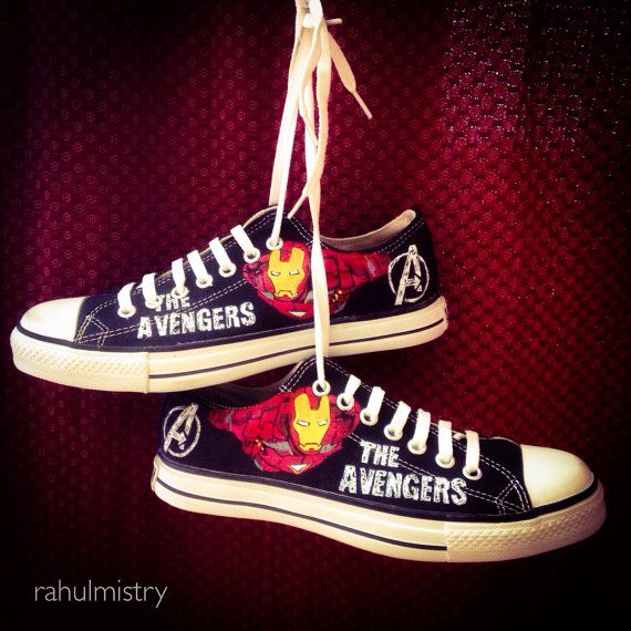 The Avengers Ironman Painted Converse