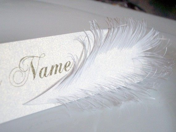 place card with feather handcuted of paper by liradesigne on Etsy, €1.00: Wedding Tables, Feather Handcuted, Etsy, Place Cards, Name Cards, Feather Obsession, Feathers, Mark Up