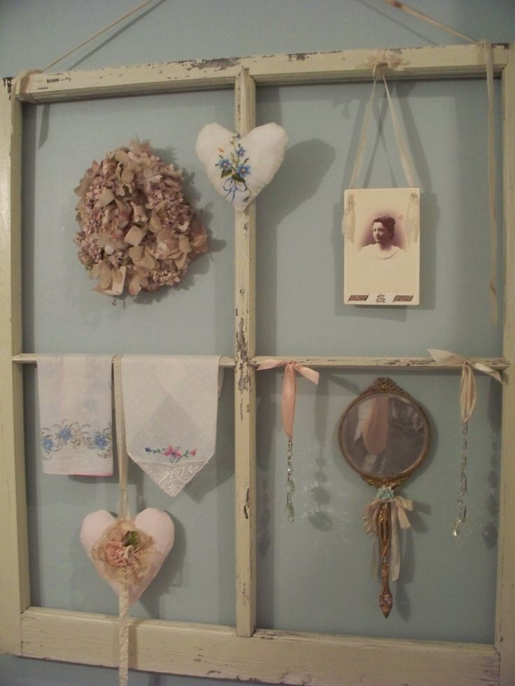 Antique window frame display in Courtney's bathroom... | by sashagirl