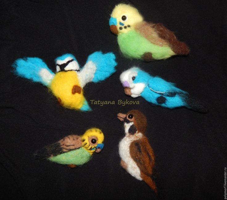 Купить Брошки Шерстяные птички и не только) - комбинированный, птички, брошь, брошь ручной работы