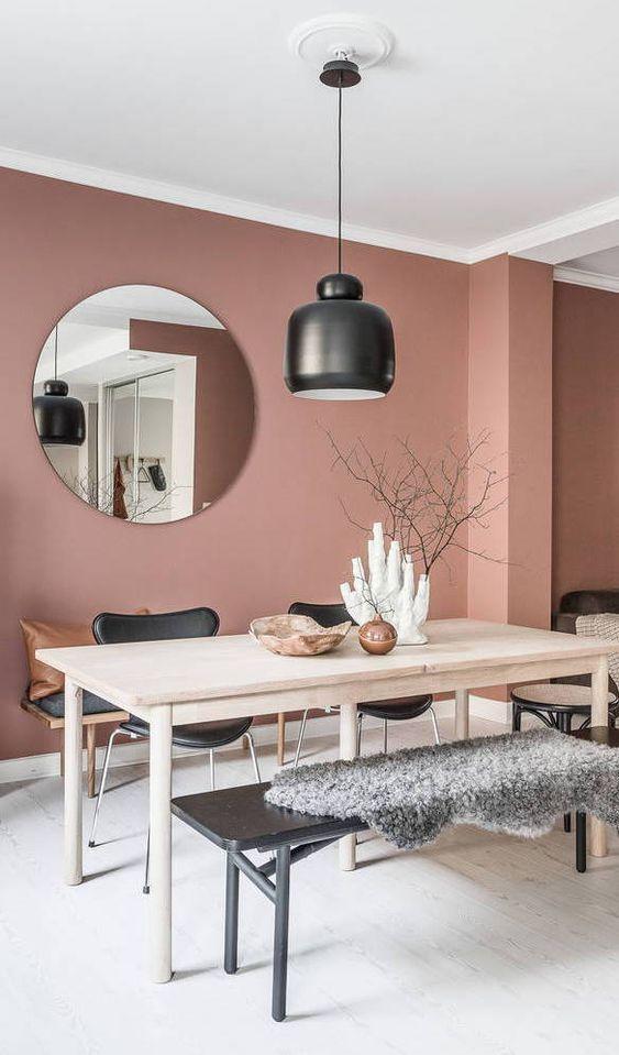 De mooiste interieurs traf Dusty Pink muren