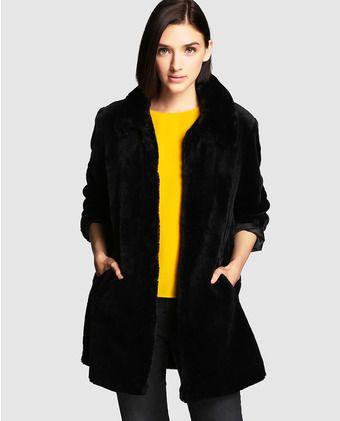 Abrigo negro de mujer Easy Wear de pelo