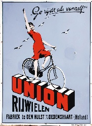Emaillebord Union rijwielen, Den Hulst, NL. Jacob Jansma, ca. 1930.