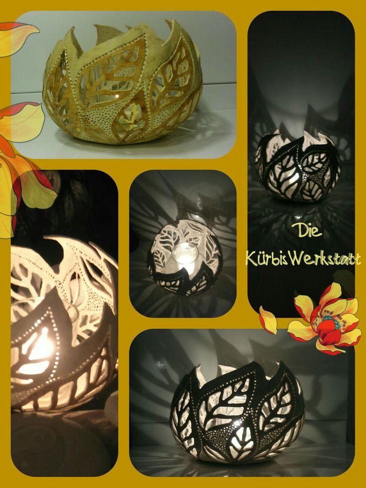 Handmade gourd tealight holder made by Die KürbisWerkstatt