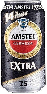 Cerveja Amstel Extra, estilo Premium American Lager, produzida por Cruzcampo, Espanha. 7.5% ABV de álcool.