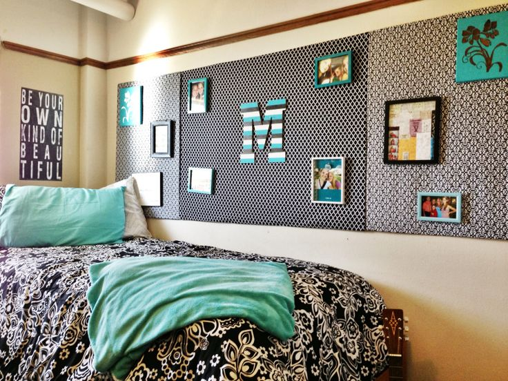 Turquoise Dorm room at Texas Tech! I used cardboard