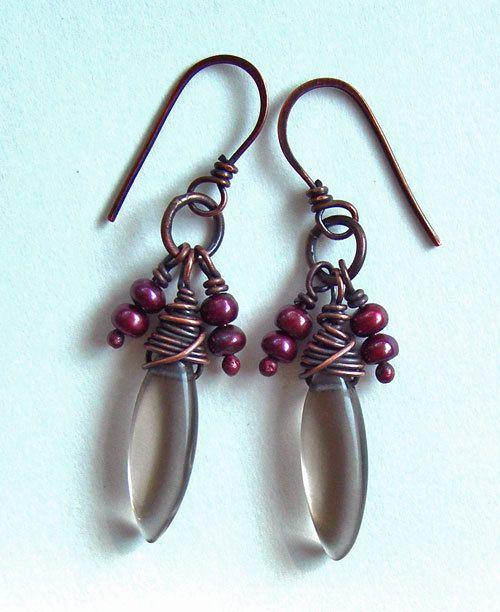 Smoky quartz earrings -  cute dangle earrings - copper wire wrapped earrings - cool earrings - boho earrings - earthy earrings