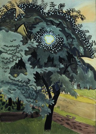The Luminous Tree, 1917, by Charles Burchfield (American, 1893–1967).   Watercolour on paper, 22 x 14"