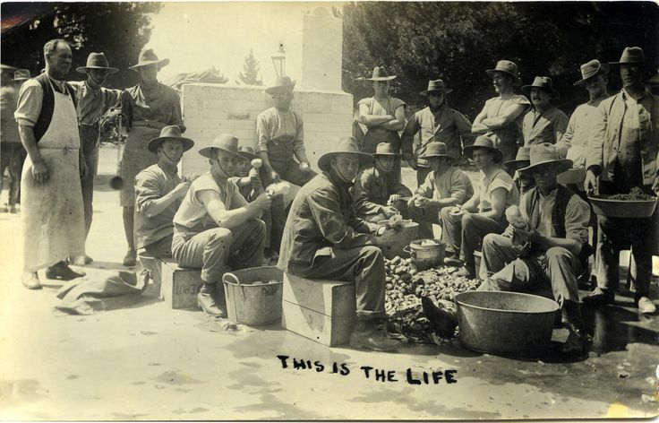 Sharing 'This is the life' ANZAC soldiers [34th Battalion] peeling potatoes [France, c 1918]  at Living Histories