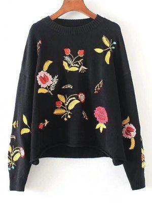 Drop Hombro Floral Bordado Suéter - Negro