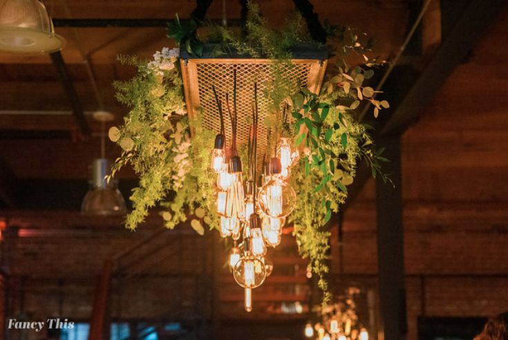 Get Lit Edison Bulb Tray Chandelier. Photo by Fancy This.  Floral by English Garden. Southern Bride and Groom vendor appreciation event at Angus Barn, Bay 7, 2018
