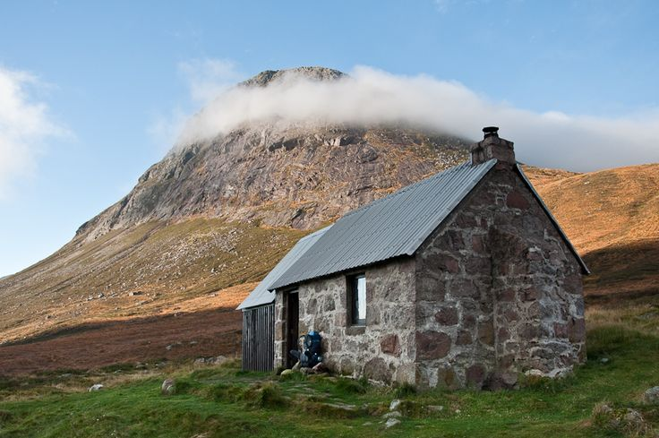 Looking up from Corrour bothy to the summit of the Munro, Devils' Point  Corrour Bothy is a simple stone building on Mar Lodge Estate, Aberdeenshire, Scotland.