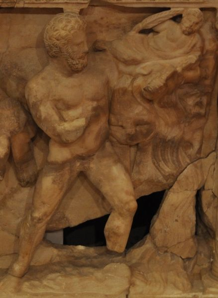 Heracles cleans the notorious stables of king Augias of Elis. Perge sarcophagus, Archaeological museum of Antalya.