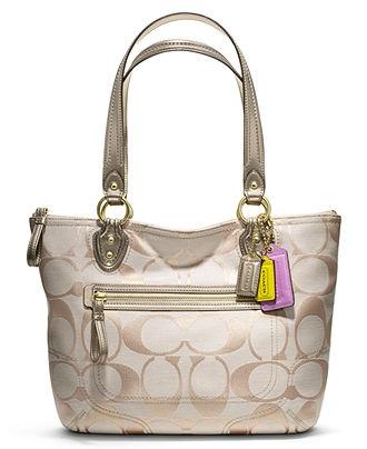 COACH POPPY SIGNATURE METALLIC SMALL TOTE - COACH - Handbags \u0026 Accessories  - Macy\u0027s �� Coach Purses CheapCoach Bags ...