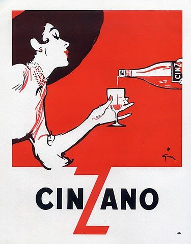 Cinzano (Drinks) 1954 René Gruau***Research for possible future project.