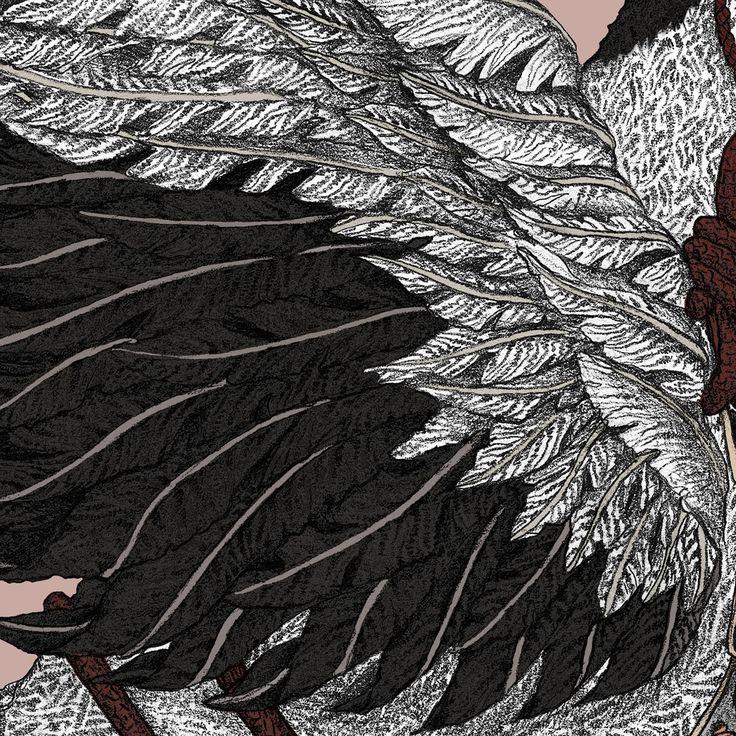 The Takeru Heron - Original luxury scarf design detail. - Sabina Savage