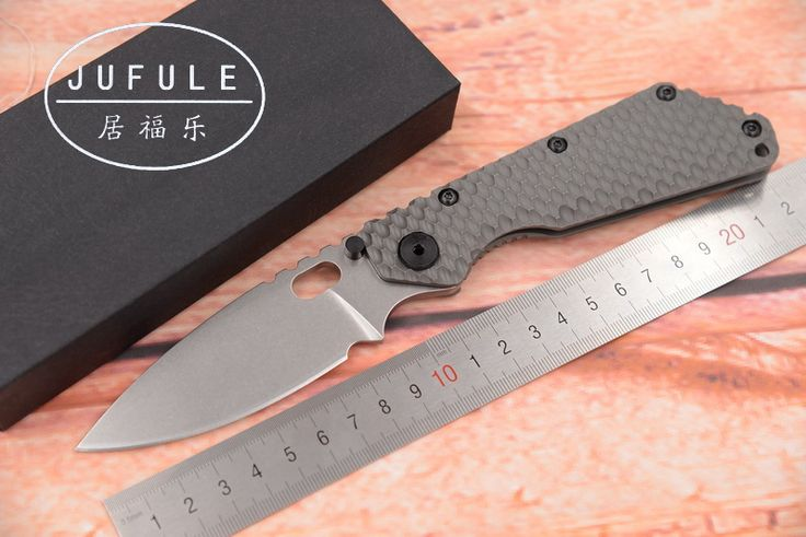 JUFULE Strider SMF TC4 Titanium handle D2 blade Copper washer Folding hunt camping outdoor Tactical multi EDC Tool kitchen knife #Affiliate