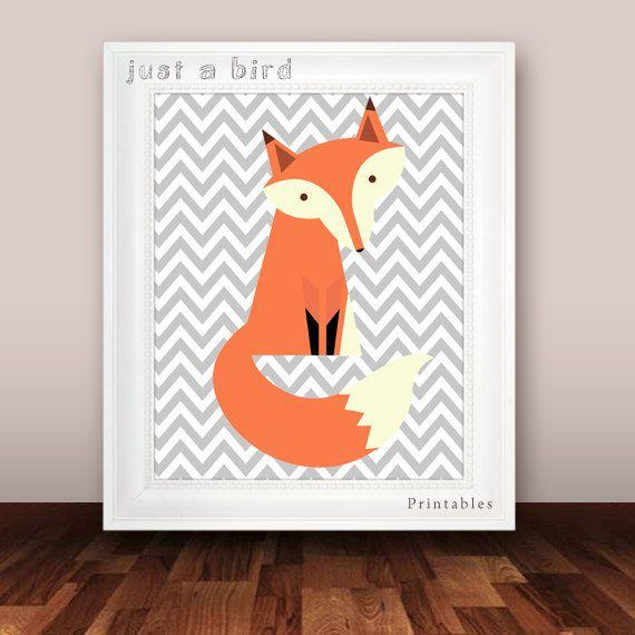 Grey chevron nursery decor fox nursery door Justabirdprintables, $5.00