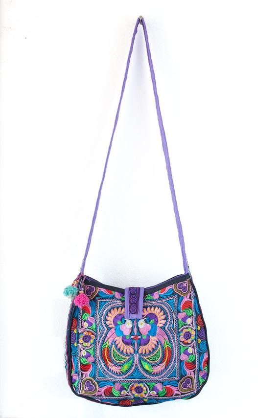 Colorful Bird Hill Tribe Crossbody Bag Hmong Embroidered Large Size Thai  Fair Trade (BG303CBLS) 0b3e2b2886c8a