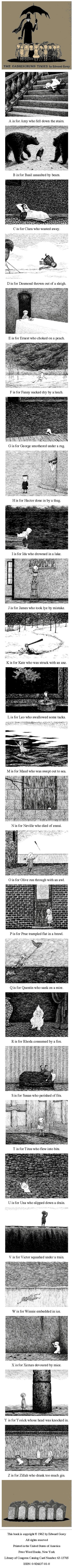 The Gashlycrumb Tinies: or, After the Outing is an abecedarian book written by Edward Gorey that was first published in 1963.