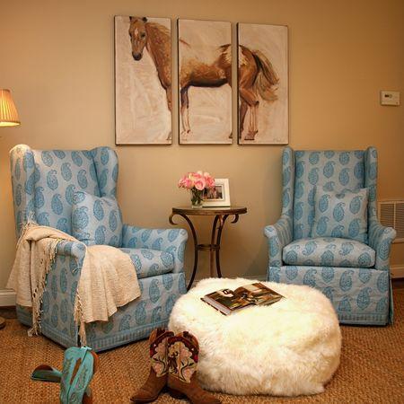 Bernhardt chairs covered in Peter Dunham's Blue Kashmir Paisley. Love it.