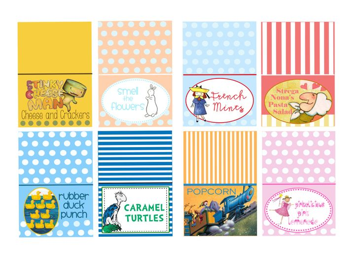 Chidrens Book Theme Food | Childrenu0027s Book Themed Baby Shower Food Tents   Featured On HWTM