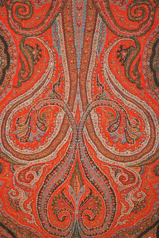 Antique 1860 European jacquard paisley shawl