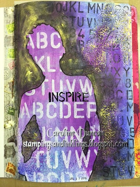 art journal by Caroline Duncan ~ Stampings and Inklings ~ Dylusions paint background