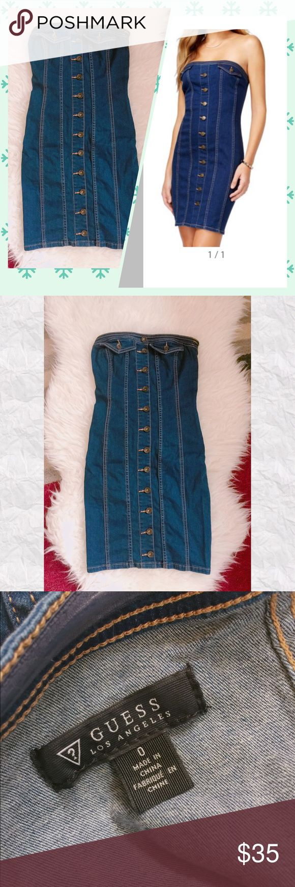 GUESS Strapless Denim Bodycon Dress Worn once. Condition: Excellent. Welcome to offer! No trades!! Gift with purchase:) Guess Dresses Strapless