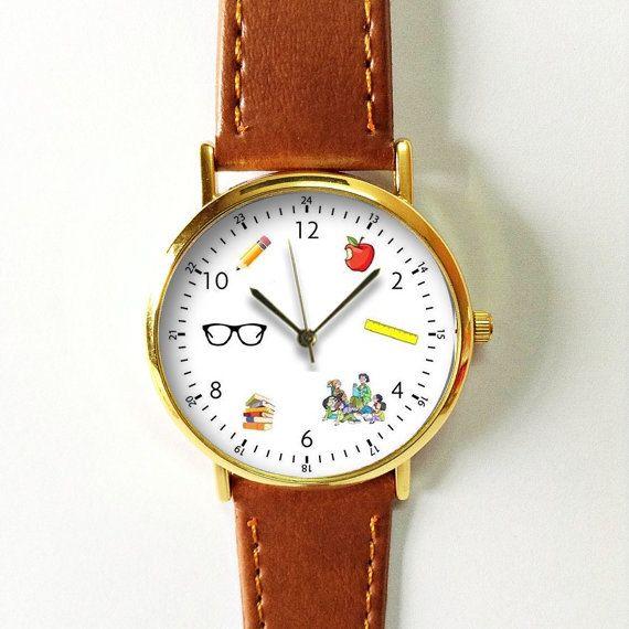 Preschool Teacher Watch , Vintage Style Leather Watch, Women Watches, Boyfriend Watch, Men's watch, Kindergarten