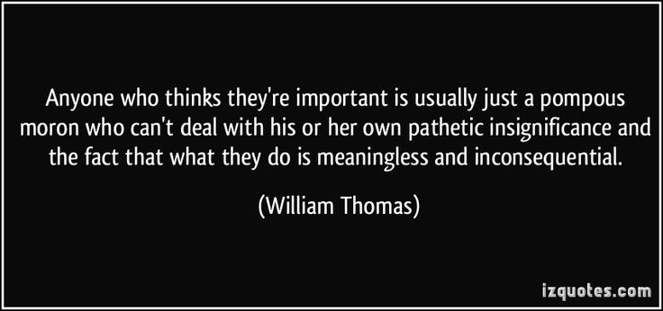 'Anyone who thinks they're important is usually just a pompous moron who can't deal with his or her own pathetic insignificance and the fact that what they do is meaningless and inconsequential.' -William Thomas