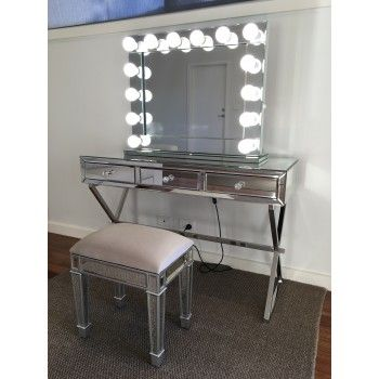 Mirror on Mirror Hollywood Makeup Mirror with Dimmable LED Lights