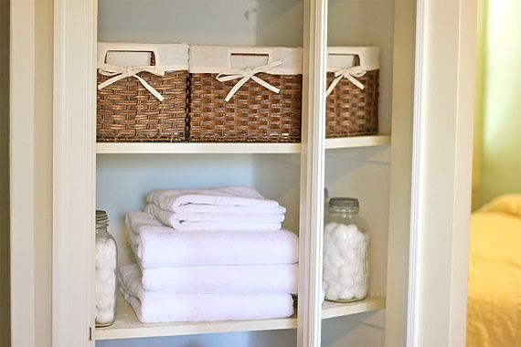 Reduce Bathroom Clutter Chaos:  To keep towels organized and well-behaved, have only two sets of towels per family member (one set in use and one in the wash). To make the task of matching sets even easier, buy only all-white, hotel-style towels. Donate extra towels and linens to a local charity.
