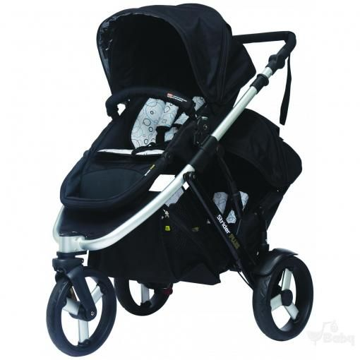 "NZ$629 Steelcraft Strider Plus 3 - Silver: •Designed to comply with ""Prams and Strollers – Safety Requirements"" Australian and New Zealand standard AS/NZS2088   •3 position reclining seat •Easy fold with or without seats (main and second) attached •Up to 15kg child in second seat •Wheel guards to protect child's fingers •Suitable for a child from birth to 20kgs •Full PVC (phthalates free) weather shield Includes boot cover + storm cover •Interchangeable seat & bassinet   ThreeWheel"