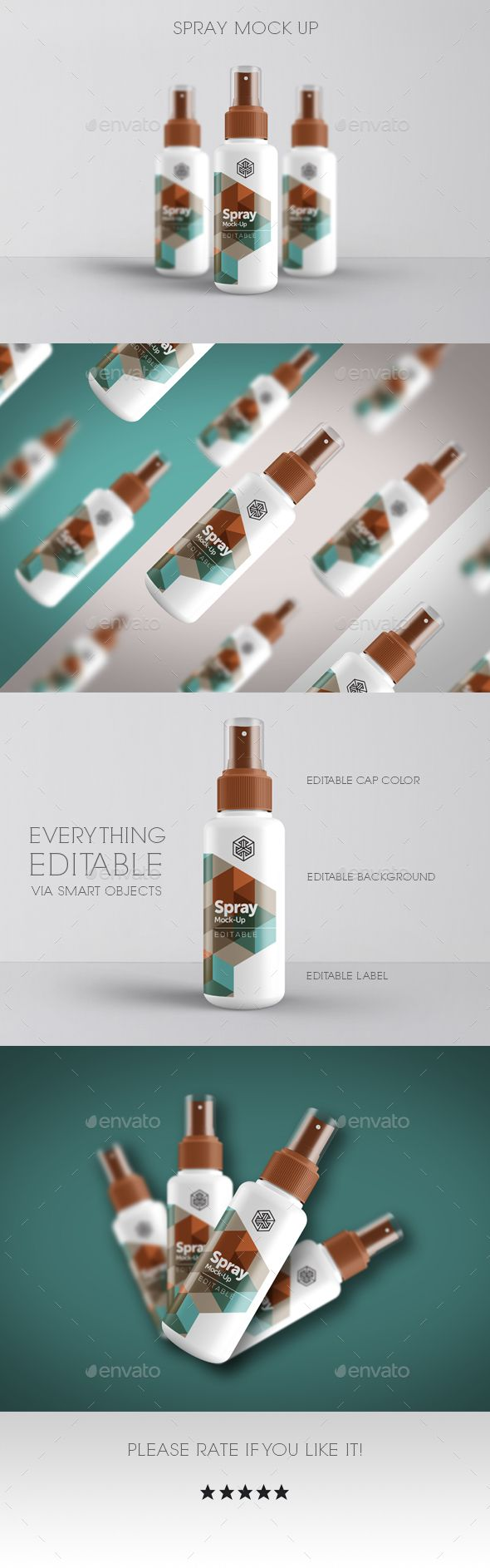 Spray Mock Up — Photoshop PSD #package #bottle • Available here → https://graphicriver.net/item/spray-mock-up/18876922?ref=pxcr
