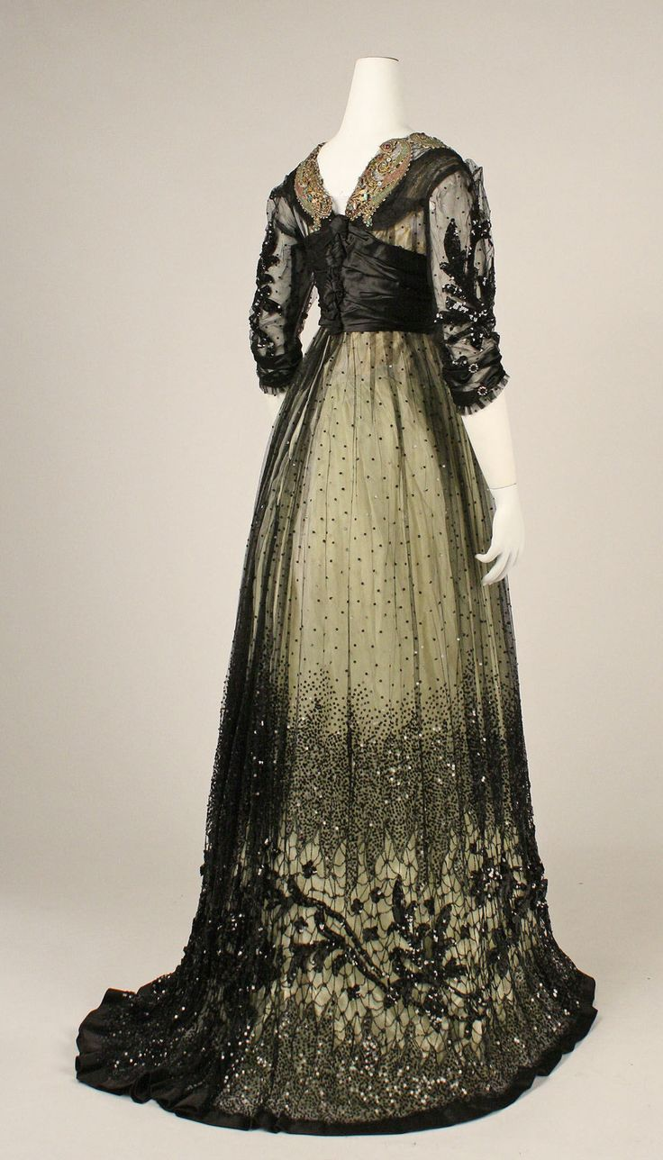 Ball gown ca. 1908  From the METROPOLITAN MUSEUM OF ART: Cotton Ball, 1900S, Glasses Beads, Edwardian Silk, Ball Gowns, Historical Fashion, Historical Clothing, 1900 S, Metropolitan Museums