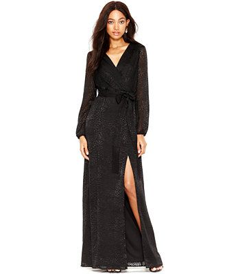 Jessica Simpson Long-Sleeve Textured Maxi Dress | Fashion ...