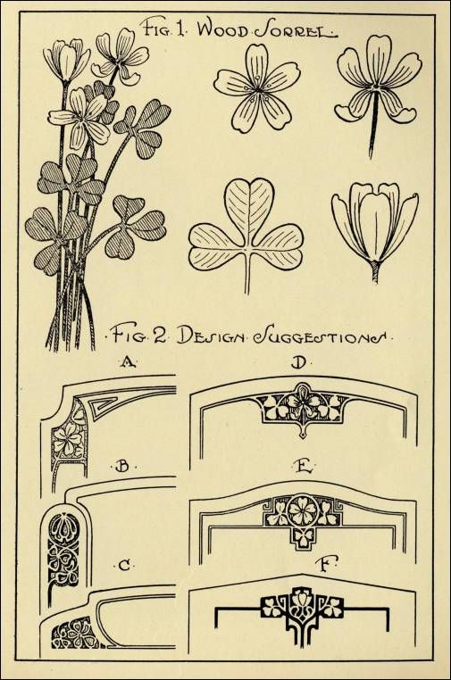 "Simplicity!  ""In the language of flowers, the wood sorrell"" represents affection & joy.  Illustration and information from:  ""Monumental Drawing and Design: The Wood Sorrel in Applied Ornament,"" by Dan B. Haslam, in  Design Hints For Memorial Craftsman Magazine, Vol. 3, No. 10, April 1927, pp. 10-11, 21."