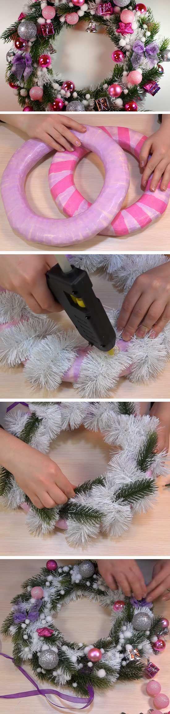 Pink & Purple | 20+ Super Easy DIY Christmas Wreaths