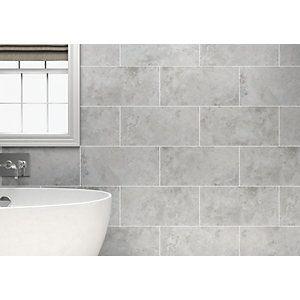 Wickes Kensington Grey Stone Effect Ceramic Wall Tile 600x300mm